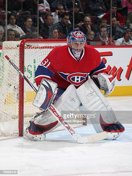 Carey Price of the Montreal Canadiens prepares for a face-off against the Florida Panthers at the Bell Centre on December 18, 2007 in Montreal,...