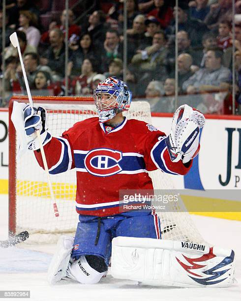 Carey Price of the Montreal Canadiens reacts to the Atlanta Thrashers third goal in less than one minute at the Bell Centre on December 02 2008 in...