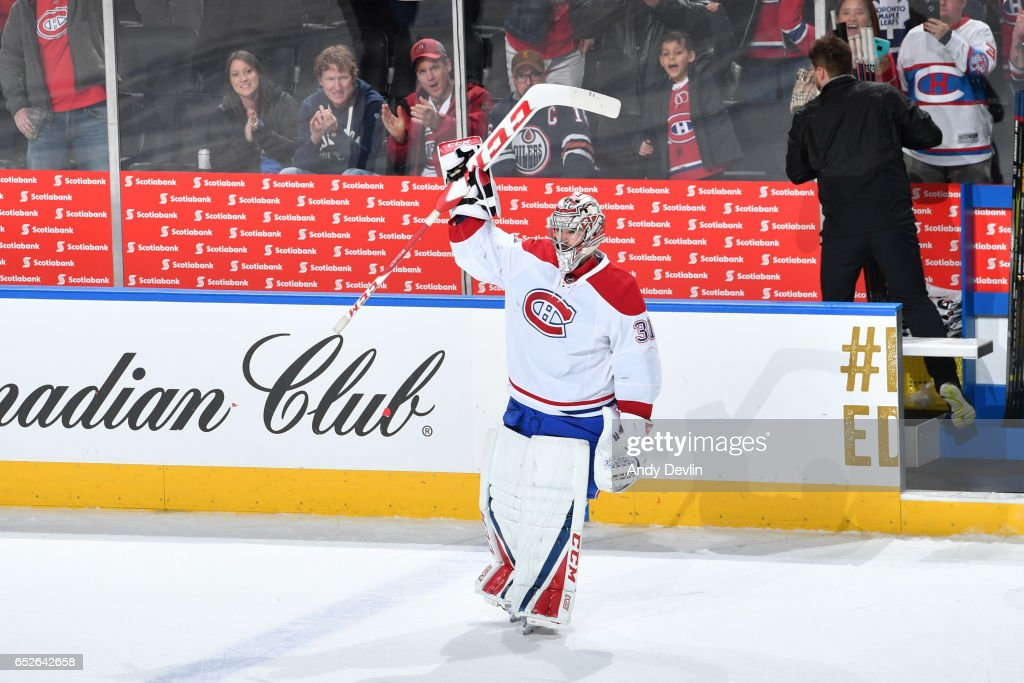 Carey Price #31 of the Montreal Canadiens salutes the crowed after being selected as the first star after winning the game against the Edmonton Oilers on March 12, 2017 at Rogers Place in Edmonton, Alberta, Canada.