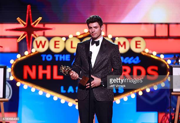 Carey Price of the Montreal Canadiens speaks onstage after accepting the Hart Memorial trophy during the 2015 NHL Awards at MGM Grand Garden Arena on...