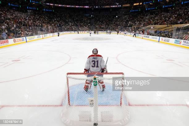 Carey Price of the Montreal Canadiens stands in the crease in the second period in Game Five of the Stanley Cup Semifinals during the 2021 Stanley...