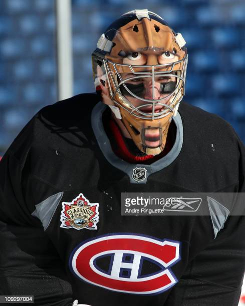 Carey Price of the Montreal Canadiens takes part in the practice session the day before the 2011 NHL Heritage Classic at McMahon Stadium on February...