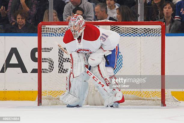 Carey Price of the Montreal Canadiens tends the net against the New York Rangers at Madison Square Garden on November 25 2015 in New York City The...