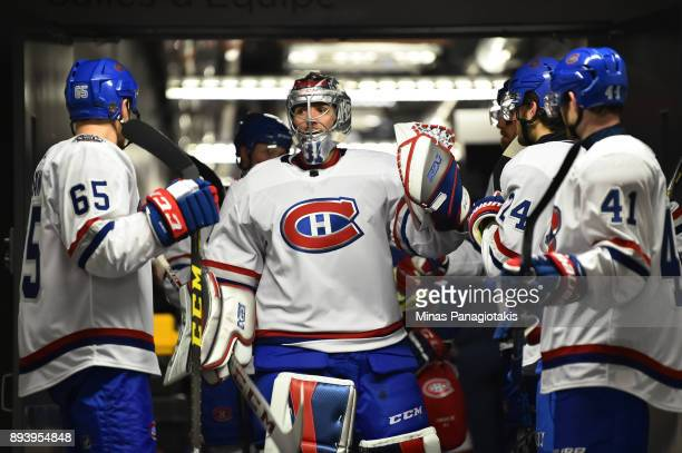 Carey Price of the Montreal Canadiens walks out to start the third period in a game against the Ottawa Senators during the 2017 Scotiabank NHL100...