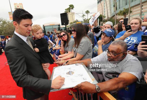 Carey Price of the Montreal Canadiens walks the red carpet prior to playing in the 2018 Honda NHL AllStar Game at Amalie Arena on January 28 2018 in...