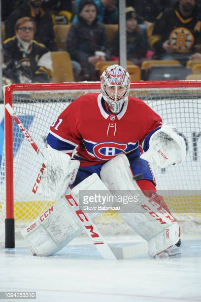 Carey Price of the Montreal Canadiens warms up before the game against the Boston Bruins at the TD Garden on January 14 2019 in Boston Massachusetts