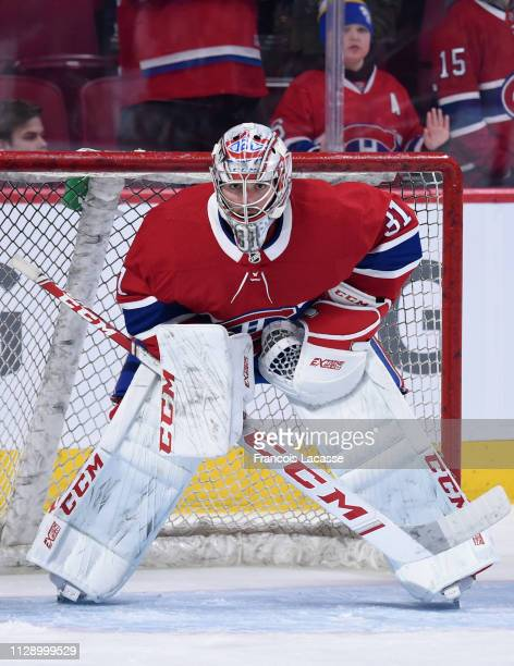Carey Price of the Montreal Canadiens warms up prior to the game against the Winnipeg Jets in the NHL game at the Bell Centre on February 7 2019 in...