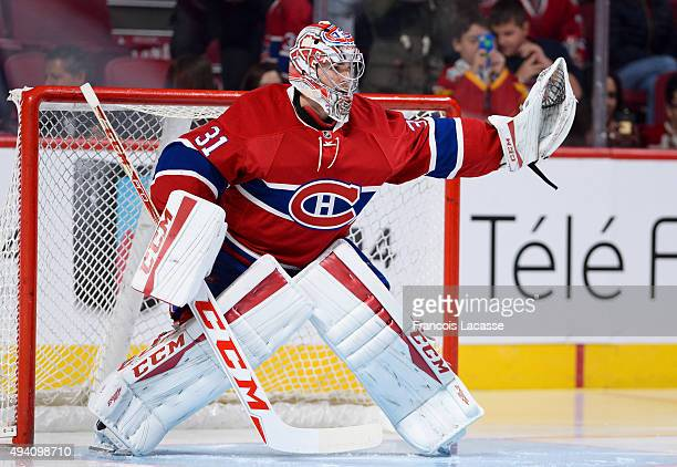 Carey Price of the Montreal Canadiens warms up prior to the game against the Detroit Red Wings in the NHL game at the Bell Centre on October 17 2015...