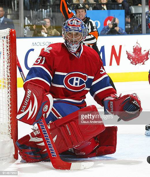 Carey Price of the Montreal Canadiens watches for a shot in a game against the Toronto Maple Leafs on October 1 2009 at the Air Canada Centre in...