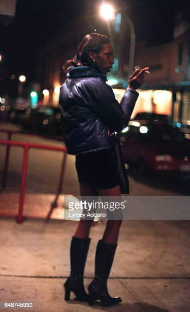 Carey waits for customers in the meatpacking district of New York City on April 4 1999