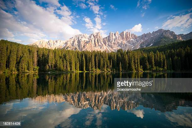 carezza lake - karersee - unesco stock pictures, royalty-free photos & images