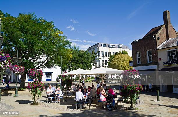 carfax in horsham west sussex on autumn day - west sussex stock pictures, royalty-free photos & images