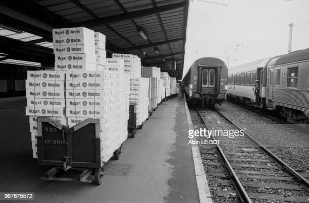 Cargaison de muguet à la gare de Nantes le 29 avril 1987 France