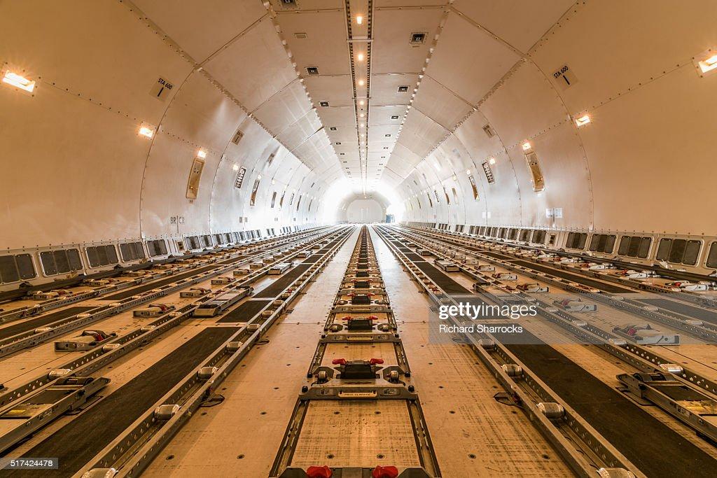 Cargo aircraft interior : Stock Photo