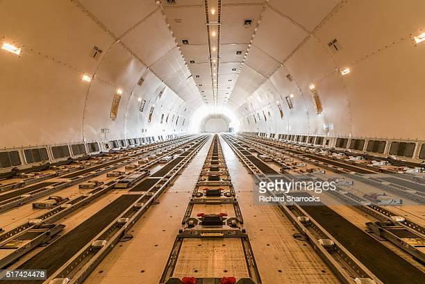 cargo aircraft interior - cargo airplane stock photos and pictures