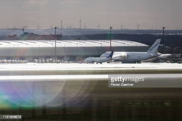Cargo aircrafts are pictured at the airport HalleLeipzig on March 19 2019 in Schkeuditz Germany
