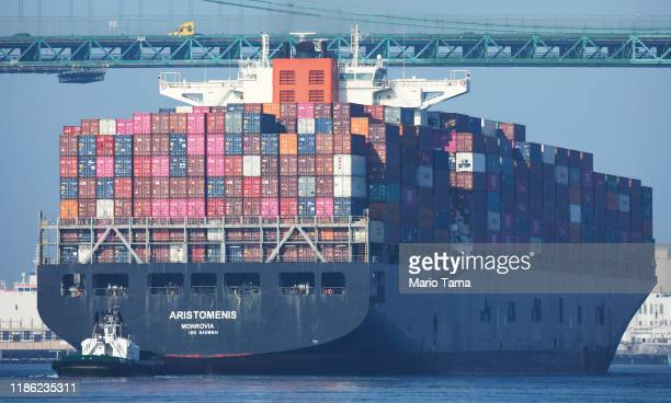 Cargo chip arrives into the Port of Los Angeles, the busiest container port in the U.S., after departing from the Port of Yantian, China, on November...