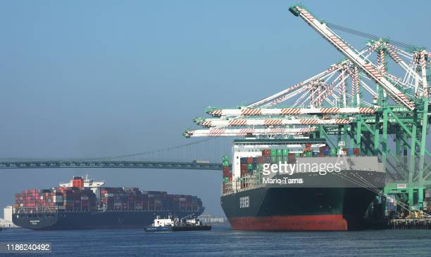 A cargo chip arrives into the Port of Los Angeles the busiest container port in the US after departing from the Port of Yantian China on November 7...