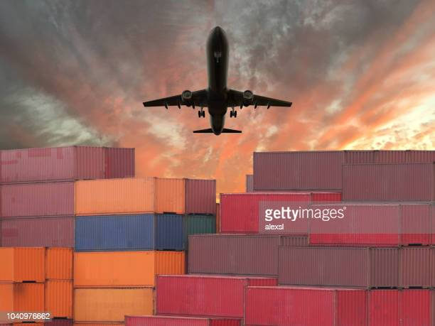 cargo container global shipping airplane - tariff stock pictures, royalty-free photos & images