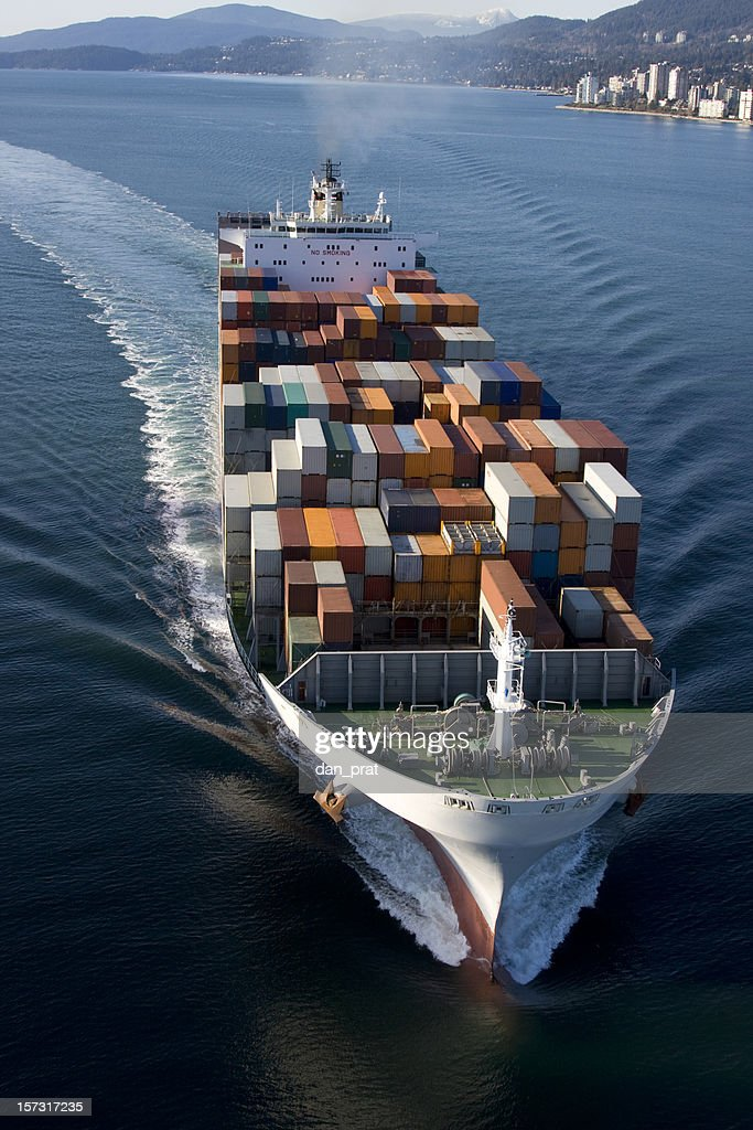 Cargo Container Ship Aerial View : Stock Photo