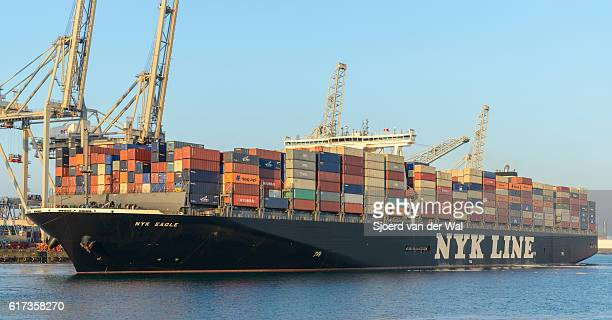 Cargo container ship at a container terminal in Rotterdam port