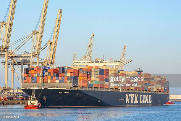 "cargo container ship at a container terminal in rotterdam port - ""sjoerd van der wal"" photos et images de collection"