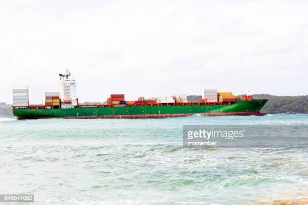 Cargo Container ship at the sea, background with copy space