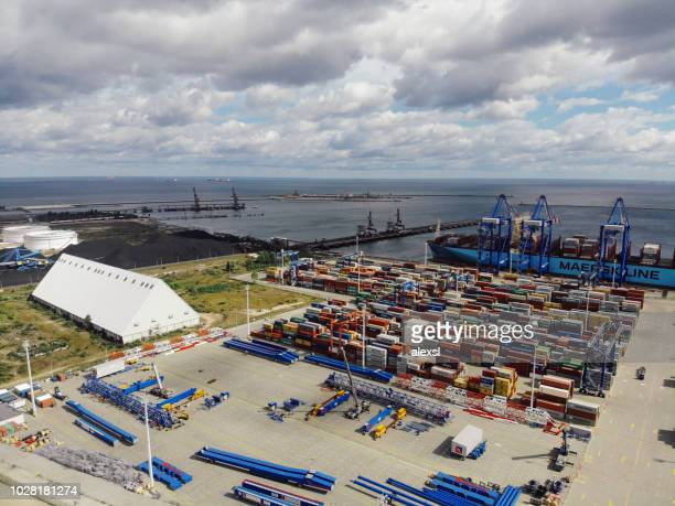 cargo container ship port harbor aerial view gdansk, poland - tariff stock pictures, royalty-free photos & images