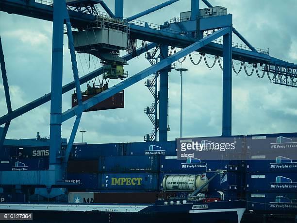 Cargo container ship port harbor Rotterdam, Netherlands