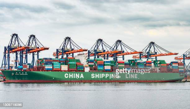 """cargo container ship with shipping containers docked in the port of rotterdam - """"sjoerd van der wal"""" or """"sjo"""" stock pictures, royalty-free photos & images"""