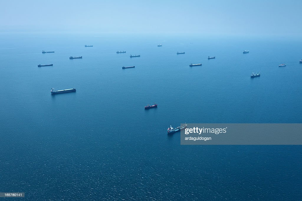 Cargo Container Ships Aerial View : Stock Photo