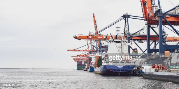 """cargo container ships at the terminal in the port of rotterdam - """"sjoerd van der wal"""" or """"sjo"""" stock pictures, royalty-free photos & images"""