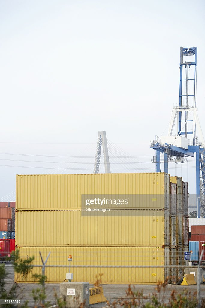 Cargo containers and a crane at a commercial dock, Charleston, South Carolina, USA : Stock Photo
