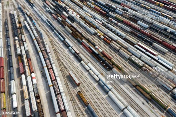 cargo containers and freight trains, aerial view, missouri, usa - rail transportation stock pictures, royalty-free photos & images