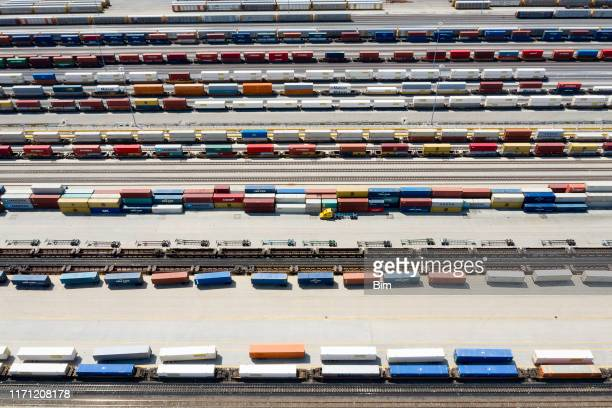 cargo containers and freight trains, aerial view, missouri, usa - rail freight stock pictures, royalty-free photos & images