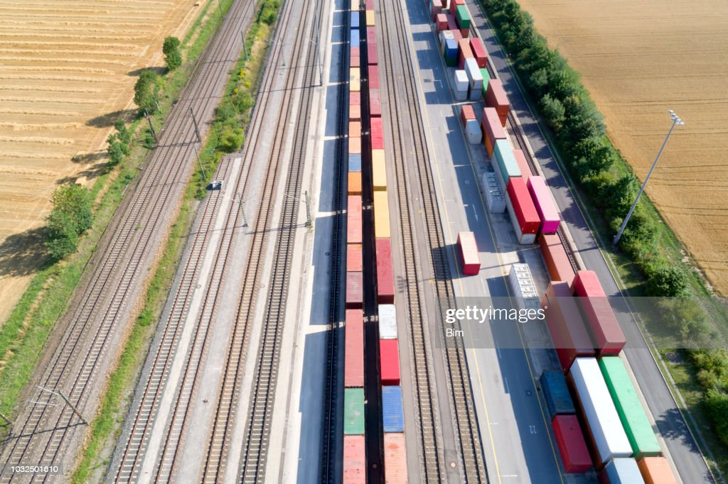 Cargo Containers and Freight Trains, Aerial View : Stock Photo