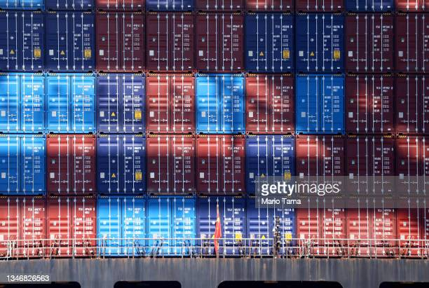 Cargo containers are stacked on a container ship at the Port of Los Angeles, the nation's busiest container port, on October 15, 2021 in San Pedro,...