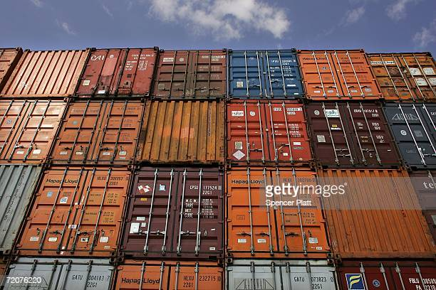 Cargo containers are stacked up at the Port Newark October 03 2006 in Elizabeth New Jersey As part of a new port security bill recently passed by...