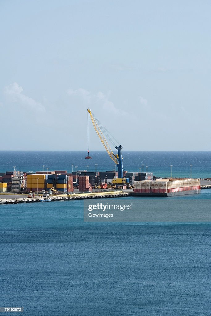 Cargo containers at a commercial dock : Foto de stock