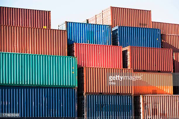 cargo containers - container stockfoto's en -beelden