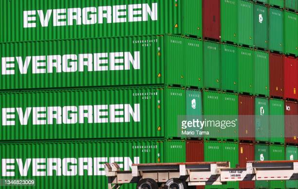 Cargo containers sit stacked at the Port of Los Angeles, the nation's busiest container port, on October 15, 2021 in San Pedro, California. As...