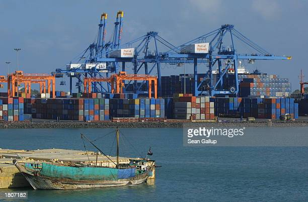 Cargo containers stand stacked at the port February 21, 2003 in Djibouti Town, Djibouti. Djibouti is the main port for all foreign aid going to...