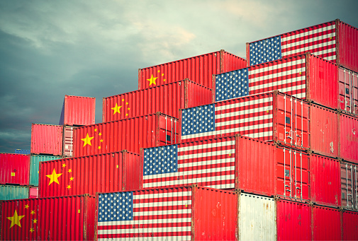 Cargo containers with Chinese and United States flag 943639230