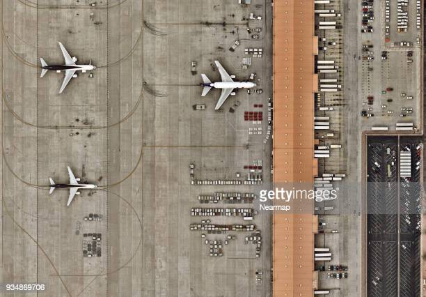 cargo delivery area at airport from above - heavy industry stock photos and pictures