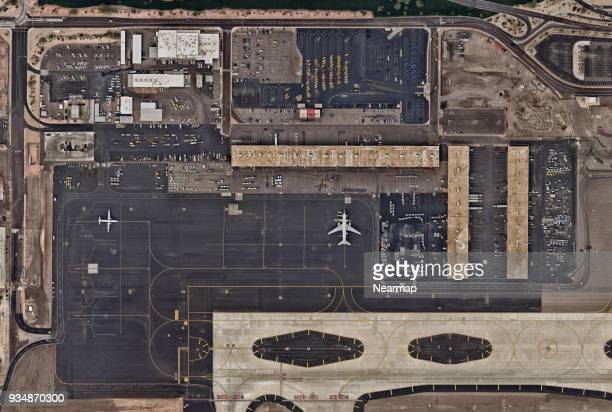 Cargo delivery area at airport from above