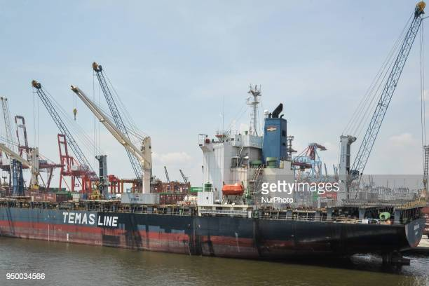 Cargo loading at Port of Tanjung Priok in Jakarta, Indonesia on April 22, 2018. This is Indonesia's busiest, biggest and most advanced seaport with...