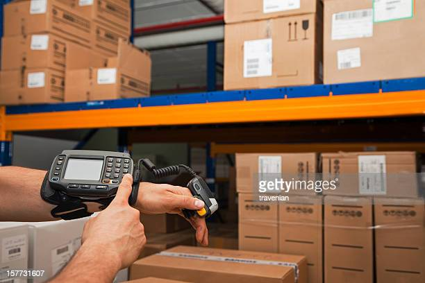 Cargo man checking on digital equipment