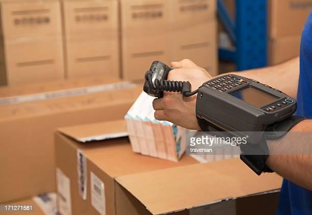 Cargo man checking on digital equipment