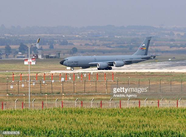 A cargo plane belonging to the United States Air Forces lands on the runway at the Incirlik Base in Adana Turkey as part of the operations against...