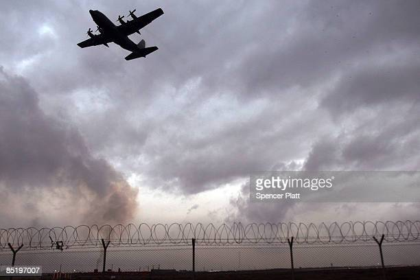Cargo plane lifts off on March 3, 2009 at Bagram Air Base, Afghanistan. Following U.S. President Barack Obama`s executive order closing the...